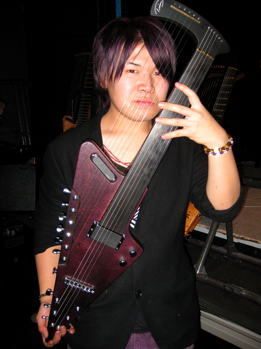GOTO with purple TD Harp Guitar